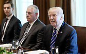 United States President Donald J. Trump attends a working luncheon  with Prime Minister Mariano Rajoy of Spain in the Cabinet Room of the White House September 26, 2017 in Washington, DC.   From left to right: Jared Kushner, US Secretary of State Rex Tillerson, and President Trump.<br /> Credit: Olivier Douliery / Pool via CNP