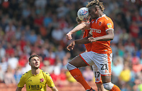 Blackpool's Armand Gnanduillet and Matty Virtue seem to compete for the same ball<br /> <br /> Photographer Stephen White/CameraSport<br /> <br /> The EFL Sky Bet League One - Blackpool v Fleetwood Town - Monday 22nd April 2019 - Bloomfield Road - Blackpool<br /> <br /> World Copyright © 2019 CameraSport. All rights reserved. 43 Linden Ave. Countesthorpe. Leicester. England. LE8 5PG - Tel: +44 (0) 116 277 4147 - admin@camerasport.com - www.camerasport.com