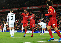 24th February 2020; Anfield, Liverpool, Merseyside, England; English Premier League Football, Liverpool versus West Ham United; Georginio Wijnaldum of Liverpool  celebrates with Sadio Mane of Liverpool before Mane's goal was disallowed for offside by VAR