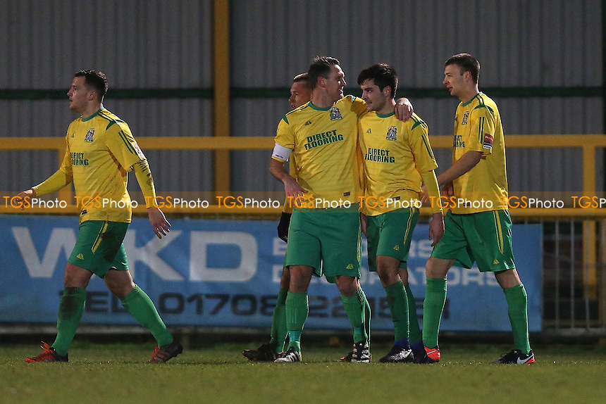 Joe Christou of Thurrock (2nd R) scores the first goal for his team and celebrates during Thurrock vs AFC Hornchurch, Ryman League Division 1 North Football at Ship Lane on 3rd January 2017