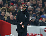 Jurgen Klopp manager of Liverpool shows his frustration during the Premier League match at the Anfield Stadium, Liverpool. Picture date: November 26th, 2016. Pic Simon Bellis/Sportimage