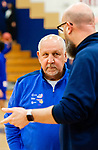 WATERBURY,  CT-011520JS14- Crosby High School boys basketball coach Nick Augelli, who is nearing 700 career win, talks with Kennedy High School head coach Ryan Sullivan prior to their game Wednesday at Kennedy High School.<br /> Jim Shannon Republican-American