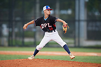 Nathan Del Nodal (18) during the Dominican Prospect League Elite Florida Event at Pompano Beach Baseball Park on October 15, 2019 in Pompano beach, Florida.  (Mike Janes/Four Seam Images)