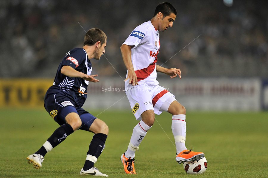 MELBOURNE, AUSTRALIA - JANUARY 22: Aziz Behich of the Heart in action during round 24 of the  A-League match between the Melbourne Victory and the Melbourne Heart at Etihad Stadium on January 22, 2011 in Melbourne, Australia. (Photo Sydney Low / AsteriskImages.com)