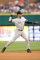 Shortstop Derek Jeter #2 of the New York Yankees makes a throw to first base at Comerica Park April 27, 2009 in Detroit, Michigan.  Photo by Brian Westerholt / Four Seam Images