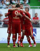 Fussball 1. Bundesliga :  Saison   2012/2013   1. Spieltag  25.08.2012 SpVgg Greuther Fuerth - FC Bayern Muenchen Jubel nach dem Tor zum 0:2 Arjen Robben, Mario Mandzukic , Thomas Mueller, Xherdan Shaqiri   (v. li., FC Bayern Muenchen)