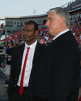 Seattle Sounders FC head coach Sigi Schmid and Toronto FC head coach Aron Winter chat during the warm-up in an MLS game between the Seattle Sounders FC and the Toronto FC at BMO Field in Toronto on June 18, 2011..The Seattle Sounders FC won 1-0.