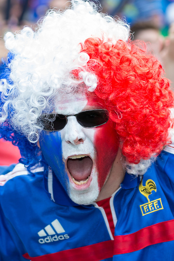 French fans enjoy the pre-match build up<br /> <br /> Photographer Craig Mercer/CameraSport<br /> <br /> International Football - 2016 UEFA European Championship - Round of 16 - France v Republic of Ireland - Sunday 26th June 2016 - Stade de Lyon, Lyon - France<br /> <br /> World Copyright &copy; 2016 CameraSport. All rights reserved. 43 Linden Ave. Countesthorpe. Leicester. England. LE8 5PG - Tel: +44 (0) 116 277 4147 - admin@camerasport.com - www.camerasport.com
