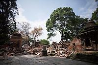 Destroyed structures of Goroknath Temple in Kathmandu, Nepal