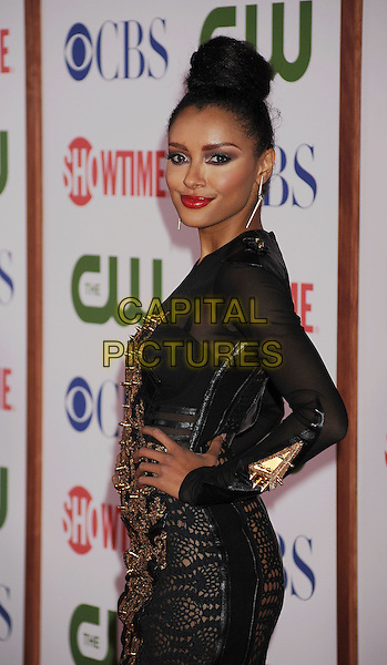 Katerina Graham.arriving at the TCA Party for CBS, The CW and Showtime held at The Pagoda in Beverly Hills, California, USA,.August 3rd, 2011. .half length side black hand on hip   sheer see-thru gold studs studded  bra crochet dress see through .CAP/ROT/TM.©TM/Roth Stock/Capital Pictures