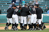 April 10, 2010:  The Altoona Curve celebrate after Jose L de los Santos hit the a double to score Josh Harrison to score the winning run in the 10th inning during a game at Blair County Ballpark in Altoona, PA.  Photo By Mike Janes/Four Seam Images