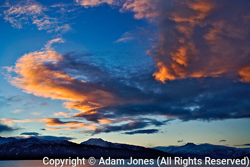 Kachemak Bay and winter sunset over Kenai Mountains, from Homer, Alaska