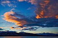 Kachemak Bay and winter sunset over Kenai Mountains, from Homer, Alaska