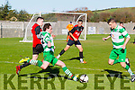 In Action  Celtic's Trevor Nagle and Stephen Hayes with parks Sean Morriarty and Sofinne Khedpiche   at the St. Brendan's Park FC v Killarney Celtic match at Christy Leahy Park on Sunday