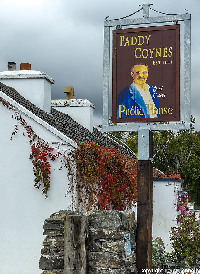 County Galway, Ireland: Paddy Counes pub sign in Tullycross on the Connemara Loop