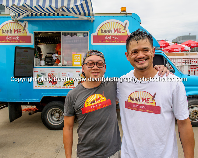 Prairie Meadows was a buss with exotic and worldly foods during its Food Truck Festival held June 17. Partners Dung Phan of Des Moines and Scooter Cavan of Bondurant operate Banh ME.