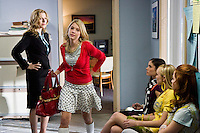 Ashley Benson as Brooke Tippit storms out after being reprimanded by her mother, Principal Lorene Tippit (Tatum O'Neal) in the Lifetime Original Movie 'Fab Five: The Texas Cheerleader Scandal.'