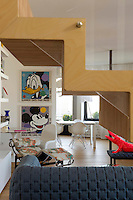 The style of this loft apartment is deliberately 1960s with an accent on pop art
