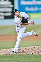 Asheville Tourists starting pitcher Riley Pint (32) delivers a pitch during a game against the Rome Braves at McCormick Field on June 9, 2017 in Asheville, North Carolina. The Braves defeated the Tourists 2-0. (Tony Farlow/Four Seam Images)