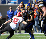 BROOKINGS, SD - OCTOBER 22:  Christian Rozeboom #2 from South Dakota State University returns an interception past Ricky Davis #12 from Youngstown State in the first half of their game Saturday afternoon at Dana J. Dykhouse Stadium in Brookings. (Photo by Dave Eggen/Inertia)