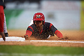 Batavia Muckdogs right fielder Jhonny Santos (32) during the second game of a doubleheader against the Mahoning Valley Scrappers on August 17, 2016 at Dwyer Stadium in Batavia, New York.  Batavia defeated Mahoning Valley 5-3. (Mike Janes/Four Seam Images)
