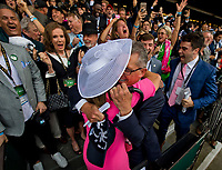 ELMONT, NY - JUNE 09: Kenny and Lisa Trout, celebrate #1 Justify, ridden by Mike Smith's win during the 150th running of the Belmont Stakes at Belmont Park on June 9, 2018 in Elmont, New York. (Photo by Scott Serio/Eclipse Sportswire/Getty Images)