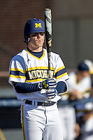 Michigan Wolverines shortstop Michael Brdar (9) at the plate against the Central Michigan Chippewas on March 29, 2016 at Ray Fisher Stadium in Ann Arbor, Michigan. Michigan defeated Central Michigan 9-7. (Andrew Woolley/Four Seam Images)