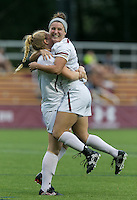 Newton, Massachusetts - September 14, 2016: NCAA Division I. Boston College (white) defeated LIU-Brooklyn (black), 2-0, at Newton Campus Soccer Field.Goal celebration.