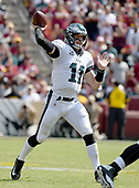 Philadelphia Eagles quarterback Carson Wentz (11) throws a pass in first quarter action against the Washington Redskins at FedEx Field in Landover, Maryland on Sunday, September 10, 2017.  The Eagles won the game 30 - 17.<br /> Credit: Ron Sachs / CNP