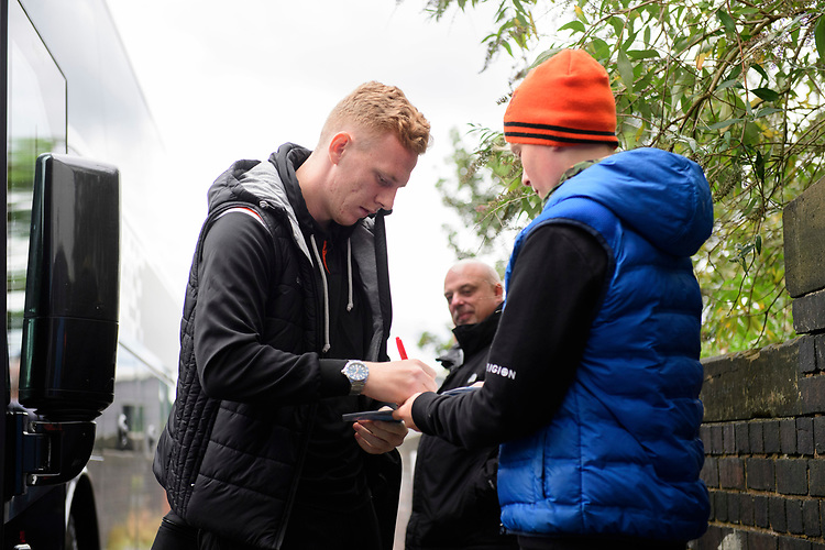 Blackpool's Callum Guy signs an autograph for a fan after arriving at the ground<br /> <br /> Photographer Chris Vaughan/CameraSport<br /> <br /> The EFL Sky Bet League One - Coventry City v Blackpool - Saturday 7th September 2019 - St Andrew's - Birmingham<br /> <br /> World Copyright © 2019 CameraSport. All rights reserved. 43 Linden Ave. Countesthorpe. Leicester. England. LE8 5PG - Tel: +44 (0) 116 277 4147 - admin@camerasport.com - www.camerasport.com