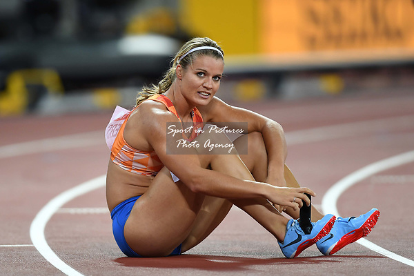 Dafne SCHIPPERS (NED) recovers after the womens 200m final. IAAF world athletics championships. London Olympic stadium. Queen Elizabeth Olympic park. Stratford. London. UK. 11/08/2017. ~ MANDATORY CREDIT Garry Bowden/SIPPA - NO UNAUTHORISED USE - +44 7837 394578