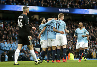 Burnley's Steven Defour looks dejected as Manchester City's Gabriel Jesus celebrates scoring the opening goal with team-mates <br /> <br /> Photographer Rich Linley/CameraSport<br /> <br /> Emirates FA Cup Fourth Round - Manchester City v Burnley - Saturday 26th January 2019 - The Etihad - Manchester<br />  <br /> World Copyright © 2019 CameraSport. All rights reserved. 43 Linden Ave. Countesthorpe. Leicester. England. LE8 5PG - Tel: +44 (0) 116 277 4147 - admin@camerasport.com - www.camerasport.com