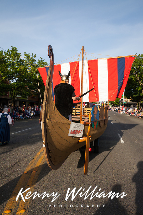 Viking Ship, 17th of May Festival 2016, Norway's Constitution Day, Ballard, Seattle, WA, USA.