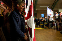 Senator Scott Brown (R-MA) waits with family and supporters backstage before being introduced at a rally at the American Civic Center in Wakefield, Massachusetts, USA, on Thurs., Nov. 2, 2012. Senator Scott Brown is seeking re-election to the Senate.  His opponent is Elizabeth Warren, a democrat.