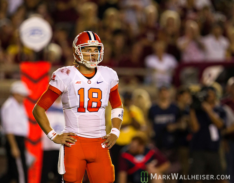 Clemson quarterback Cole Stoudt in the 1st half of an NCAA college football game against Florida State in Tallahassee, Fla., Saturday, Sept. 20, 2014.  Florida State defeated Clemson 23-17 in overtime. (AP Photo/Mark Wallheiser)