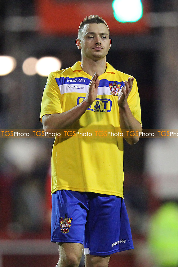 Louie Theophanous of Staines Town thanks the travelling fans - Brentford vs Staines Town - FA Challenge Cup 1st Round Proper Round Football at Griffin Park, London - 09/11/13 - MANDATORY CREDIT: Gavin Ellis/TGSPHOTO - Self billing applies where appropriate - 0845 094 6026 - contact@tgsphoto.co.uk - NO UNPAID USE