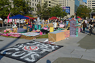"""October 6, 2011  (Washington, DC)  Hundreds of people from around the country remain in Washington on the third day of what has been deemed """"Occupy DC"""".  On this day, some of the protesters clashed with security personnel at a Smithsonian Museum several blocks away from the encampment at Freedom Plaza.  (Photo by Don Baxter/Media Images International)"""