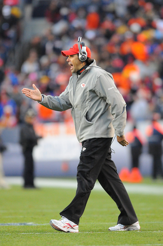 14 NOVEMBER 2010:  Chiefs head coach Todd Haley  during a regular season National Football League game between the Kansas City Chiefs and the Denver Broncos at Invesco Field at Mile High in Denver, Colorado. The Broncos beat the Chiefs 49-29.