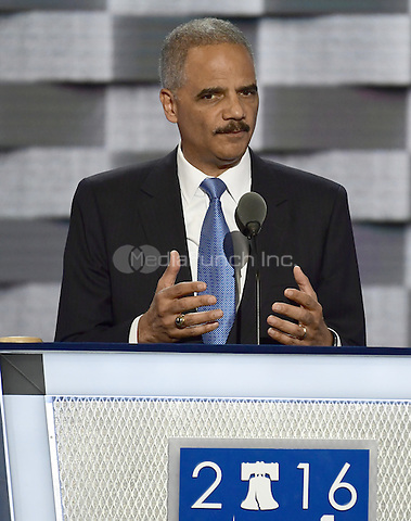 Former United States Attorney General Eric Holder makes remarks during the second session of the 2016 Democratic National Convention at the Wells Fargo Center in Philadelphia, Pennsylvania on Tuesday, July 26, 2016.<br /> Credit: Ron Sachs / CNP/MediaPunch<br /> (RESTRICTION: NO New York or New Jersey Newspapers or newspapers within a 75 mile radius of New York City)
