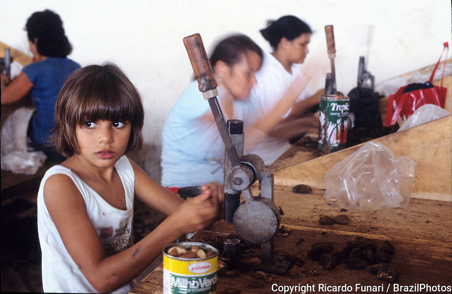 Brazil nut processing plant, child labor, Xapuri, Acre, Amazon, Brazil.