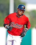 4 March 2010: Houston Astros center fielder Yordany Ramirez rounds the bases after hitting a three-run homer during the Astros' Grapefruit League Opening Day game against a Washington Nationals' split squad at Osceola County Stadium in Kissimmee, Florida. The Astros defeated the Nationals 15-5 in Spring Training action. Mandatory Credit: Ed Wolfstein Photo
