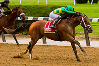 ELMONT, NY - JULY 08:  Keen Ice#1, ridden by Jose Ortiz , wins the Suburban Stakes, at Belmont Park on July 8, 2017 in Elmont, New York (Photo by Sue Kawczynski/Eclipse Sportswire/Getty Images)