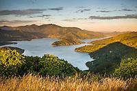 Sunset over Kenepuru Sounds, Marlborough Sounds, New Zealand