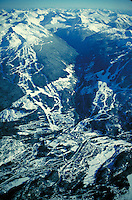 Aerial View of Whistler Village, with Whistler and Blackcomb ski areas behind. Winter sport, resort, vacation, skiing, mountains, cold, snow. Whistler British Columbia Canada.