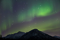 Aurora borealis over the Brooks mountain range, Arctic, Alaska.