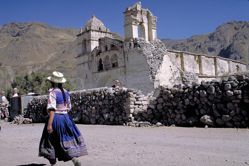 South America ; travel ; traditional dress ; village ; earthquake damage ; church. Achoma, Peru.