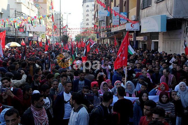 Palestinian supporters of the Popular Front for the Liberation of Palestine (PFLP) take part during a rally marking the 52nd anniversary of the founding of (PFLP) in Gaza City on December 7, 2019. Photo by Mahmoud Ajjour