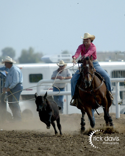 Breakaway Roper Stacy Dysart competes at the Southeast Weld County CPRA Rodeo in Keenesburg, Colorado on August 12, 2006.