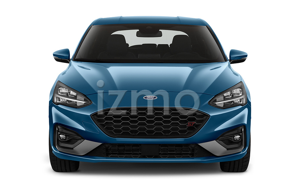 Car photography straight front view of a 2019 Ford Focus ST Base 5 Door Hatchback