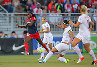 Boyds, MD - Saturday Sept. 03, 2016: Cheyna Williams, Abby Erceg during a regular season National Women's Soccer League (NWSL) match between the Washington Spirit and the Western New York Flash at Maureen Hendricks Field, Maryland SoccerPlex.